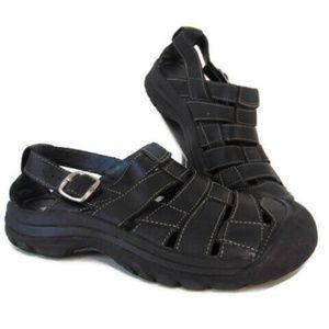 Keen Womens Black Leather Sandals 9.5 EU 40 Fisher